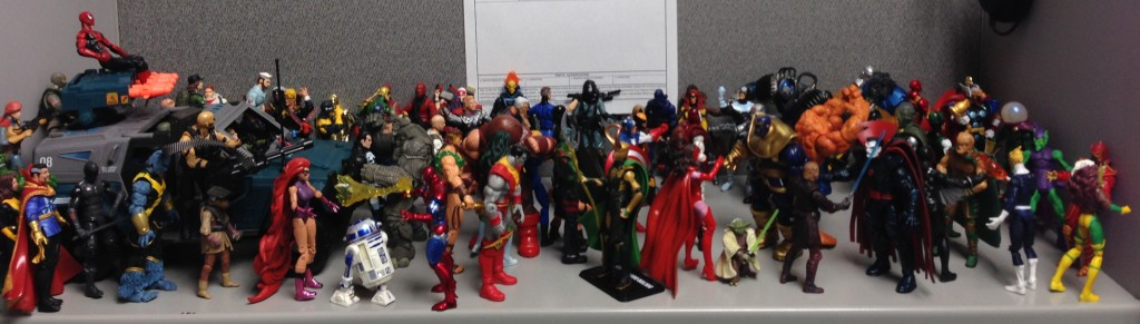 This is obviously theoretical. I've never spent any money on things like action figures (pictured, one of my shelves at work)