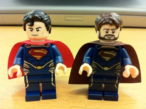 Superman and Jor El Side by Side