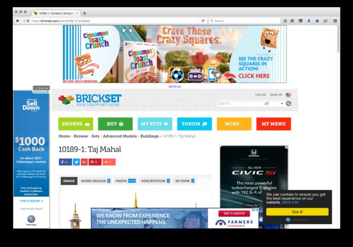 Screenshot of a Brickset page