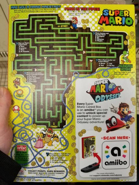 Super Mario Cereal back of box
