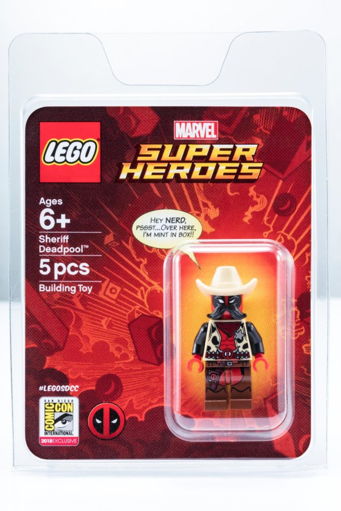 Sheriff Deadpool in package SDCC LEGO minifig exclusive